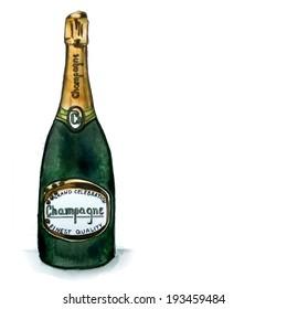 Watercolor champagne bottle