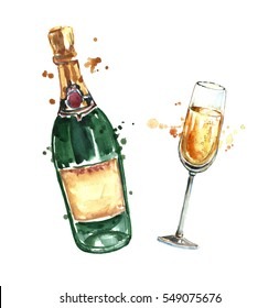 Watercolor champagne bottle and glass.