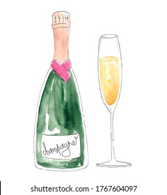 watercolor champagne bottle and glass isolated on white background for postcard, logo, for invitations, greeting cards, business card