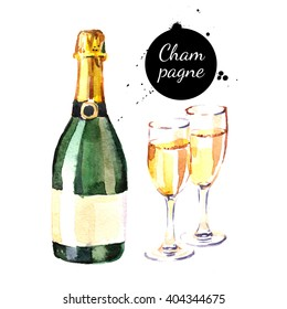Watercolor champagne bottle and glasses icon. Isolated 
