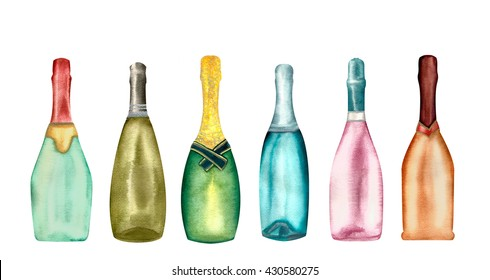 Watercolor champagne bottles