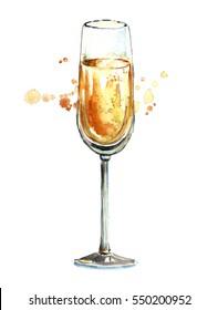 Watercolor champagne glass.