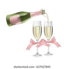 Watercolor Champagne Illustration