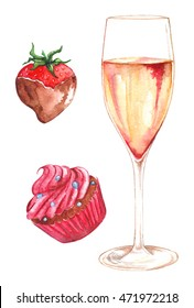 Watercolor champagne strawberry chocolate cupcake set isolated