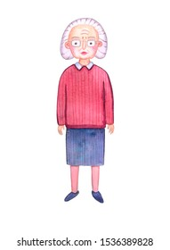 Watercolor character. Old woman grandmother with gray hair wearing glasses, in a burgundy sweater, blue skirt.