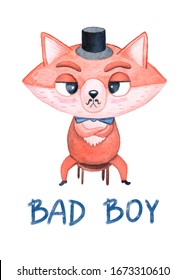 """Watercolor character. A serious adult fox in a black top hat and a blue bow-tie, with a mustache and lettering """"bad boy"""""""