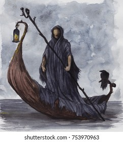 watercolor Charon in a boat with a pole of the Styx River
