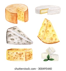 Watercolor cheese collection, banner, icon including feta, cheddar, roquefort, tilsiter, maasdam, brie