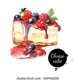Watercolor cheesecake dessert. Isolated food illustration on white background