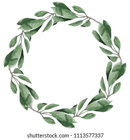 Watercolor cherry green leaves round wreath frame. Wedding or greeting card design illustration  isolated on white background