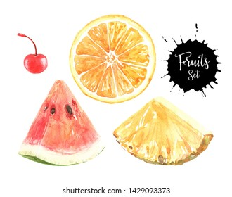 Watercolor Cherry, Orange, Watermelon and Pineapple hand drawn illustration.Watercolor Fruits head path, clipping path isolated on white background.