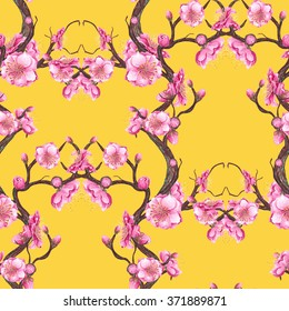 Watercolor Cherry, Plum, Peach blossom seamless pattern on yellow background. Brown, Pink & Yellow backdrop. Cloth & rug design. Oriental Style. Hand drawn illustration.
