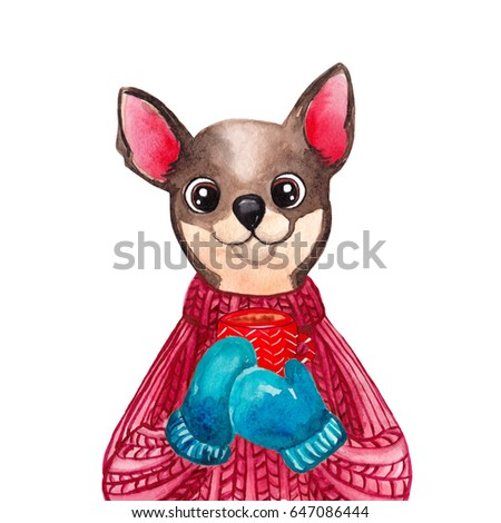 Watercolor Chihuahua Dog Sweater 2018 Chinese Stock Illustration