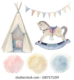 Watercolor childhood clipart. Wooden rocking horse. Watercolor isolated. Perfect for invitation, newborn or greeting cards.