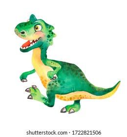 Watercolor childish illustration of a green ceratosaurus dinosaur, funny dinosaur, big-head dinosaur, baby dino, cartoon dino, cute dinosaur, jurassic, cartoon character, tyrannosaurus rex for kids