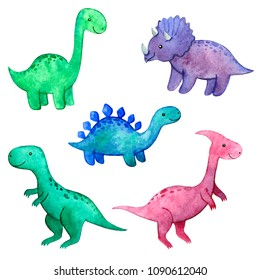 Watercolor childish set with dinosaurs.