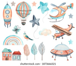 Watercolor children collection Transport by Air with cute plane, helicopter, hot air balloons, clouds, butterfly, bird
