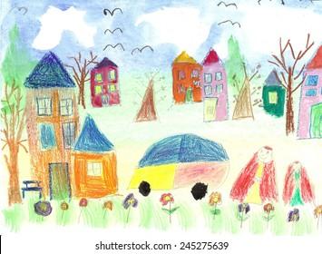 Watercolor Children Drawing. Kids Walking preschooler.