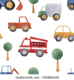Watercolor children pattern for a boy, cute cars, blue tractor,
