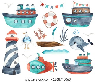 Watercolor children water transport elements: ships, boat, submarine, yacht, sailboat, lighthouse, whale, Dolphin, steering wheel, seagulls, spray