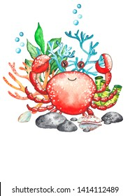Watercolor children's baby shower cards with underwater creatures: whale, turtle, crab, octopus, starfish, narwhal, jellyfish, seaweed, corals, shells for baby shower, shirt design, invitations