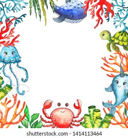 Watercolor children's baby shower frames with underwater creatures: whale, turtle, crab, octopus, starfish, narwhal, jellyfish, seaweed, corals, shells for baby shower, shirt design, invitations