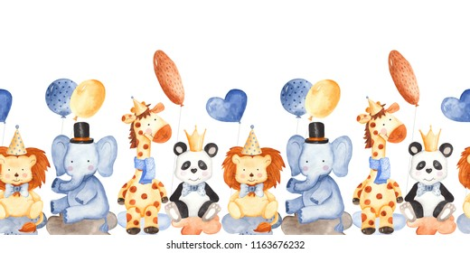Watercolor children's birthday with animals. Watercolor seamless border with cute giraffe, elephant, lion, panda. Excellent for children's invitations, cards, projects.