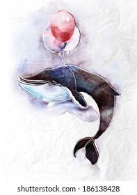 Aquarell-Kinderillustration eines süßen Wals, der am Himmel auf den Ballons fliegt