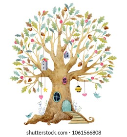 Watercolor children's tree illustration, family tree, genealogical tree. cute fairy tree, children's illustration