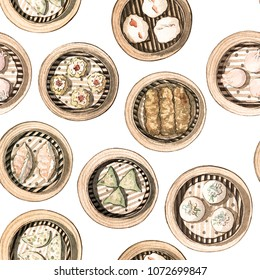 Watercolor chinese food dim sum seamless pattern. Hand drawn different types of asian food in wooden steamers repeating background. Tasty chinese food, delicious har gao, shrimp bean curd skin, rolls.