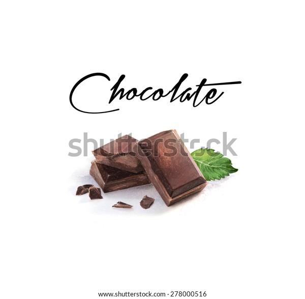 水彩チョコレートイラスト のイラスト素材
