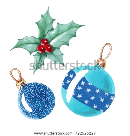 Watercolor Christmas Ball Christmas Decorations Balls Stock