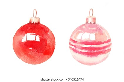 Watercolor Christmas Ball Ornaments Red Pink Decoration Hand Painted Illustration Set isolated on white background