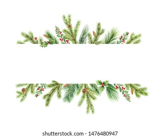 Watercolor Christmas banner with green pine branches and place for text. Holiday decoration for greeting cards, poster template and invitations isolated on white background.