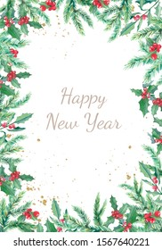 Watercolor Christmas banner with winter branches and red berries. Design New Year illustration for greeting cards, frames, invitations templates.