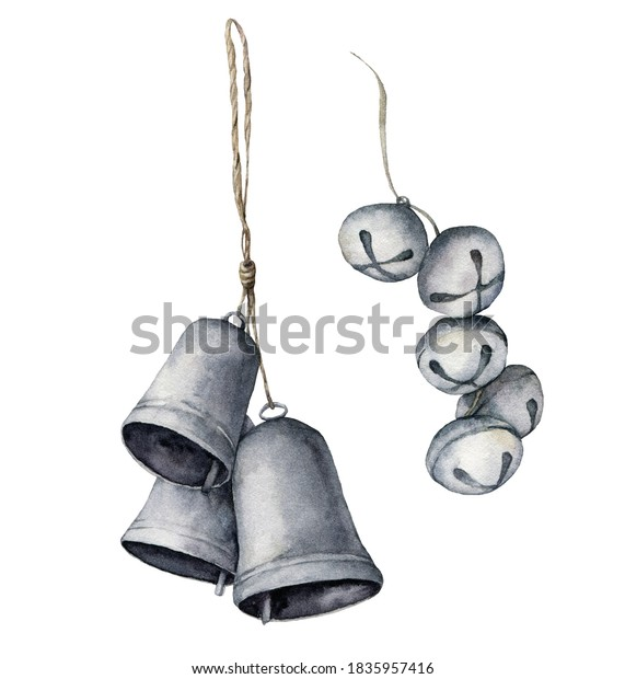 Watercolor Christmas bells set. Hand painted silver bells and bells garland isolated on white background. Collection of New Year decor. Holiday illustration for design, print, fabric or background.