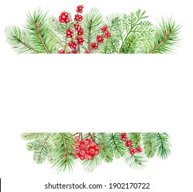 Watercolor christmas border, new year green spruce tree branches and holly berries decoration, hand drawn illustration isolated on white background, perfect for invitation cards, any print design
