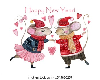 Watercolor Christmas card with a pair of mice in love. Hand drawn mouse girl in a blue sweater and pink ballet tutu and mouse boy in a red sweater and a yellow scarf. Greeting card for couples in love