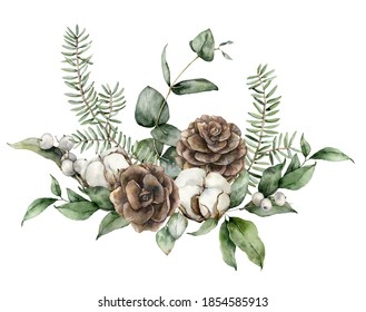 Watercolor Christmas card with pine cones, fir branches, eucalyptus leaves and cotton flowers. Hand painted holiday illustration isolated on white background. For design, print, fabric or background.