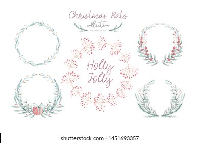 Watercolor Christmas card with wearth. Hand drawing christmas decoration. Winter holiday design. Berry wreath for Christmas greeting card.