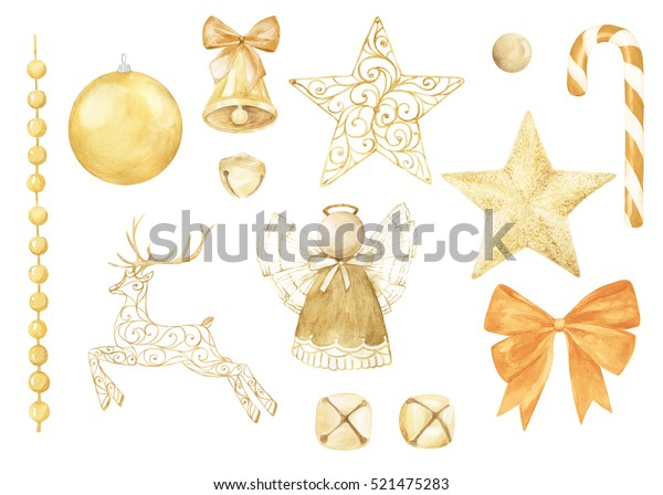 Watercolor christmas collection. Hand painted  holiday elements isolated on white background