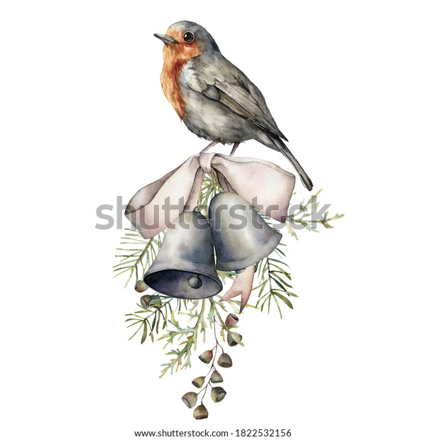 Watercolor Christmas composition with bird, silver bow and bells. Hand painted holiday decor with fir branch isolated on white background. Vintage illustration for design, print, fabric or background.