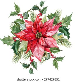 watercolor Christmas composition with poinsettia flowers, branches tree, red berries,