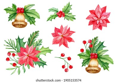 Watercolor christmas compositions with poinsettia flowers and jingle bells. Hand drawn elements isolated on white background