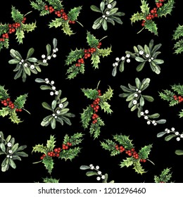 Watercolor Christmas decorative floral seamless