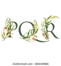 Watercolor christmas floral alphabet with summer flowers of peonis, anemones and green leaves. Set of letters P, Q, R. Romantic floral set perfect for wedding cards or scrapbooking.