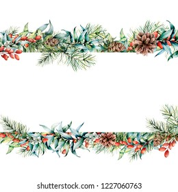 Watercolor Christmas floral banner. Hand painted floral garland with berries and fir branch, eucalyptus leaves, pine cone isolated on white background. Holiday clip art for design, print.