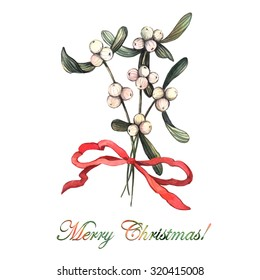 Watercolor Christmas floral composition. Christmas watercolor sketch. Isolated object.  Illustration for greeting cards, invitations, and other printing projects.