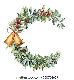 Watercolor Christmas floral frame. Hand painted floral branch with berries and fir branch, pine cone, bells and ribbon isolated on white background. Holiday clip art