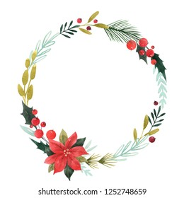 Watercolor Christmas floral wreath,, bouquets of poinsettia flowers, holly, red berries, fir branches. abstract watercolor invitation